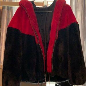 tommy hilfiger fur black and red jacket